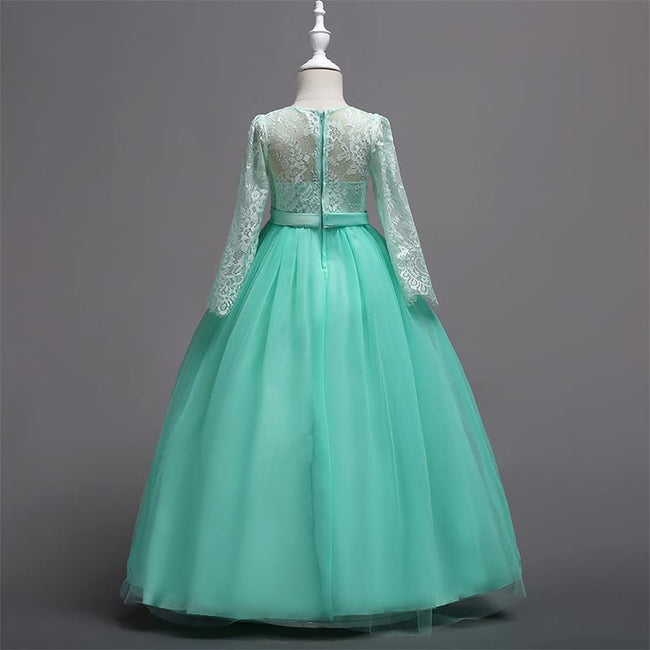 Long sleeve tulle green gown for girls-Fabulous Bargains Galore