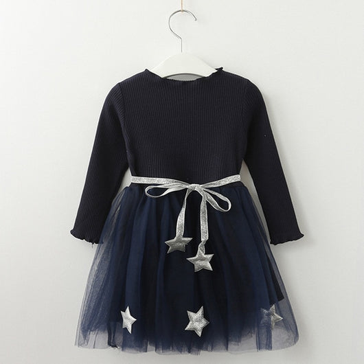 Navy girls long sleeve party dress-Fabulous Bargains Galore