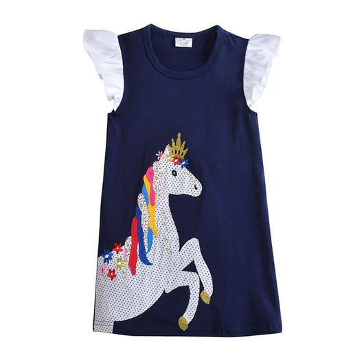 Unicorn print girls shift dress-Fabulous Bargains Galore