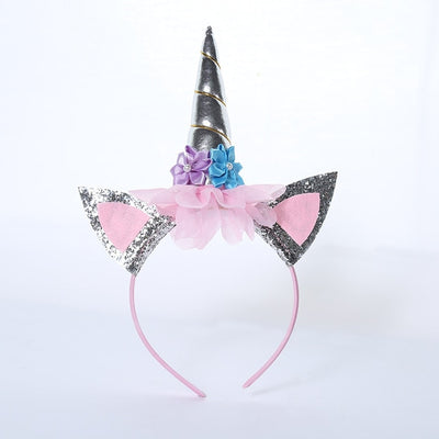 Silver unicorn horn headband-Fabulous Bargains Galore