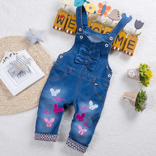Butterfly girls blue dungaree shorts-Fabulous Bargains Galore