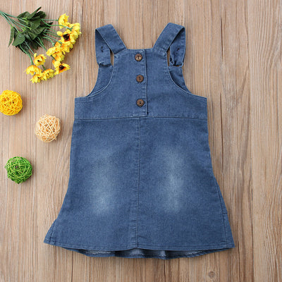 Floral denim baby dungaree dress for girls-Fabulous Bargains Galore