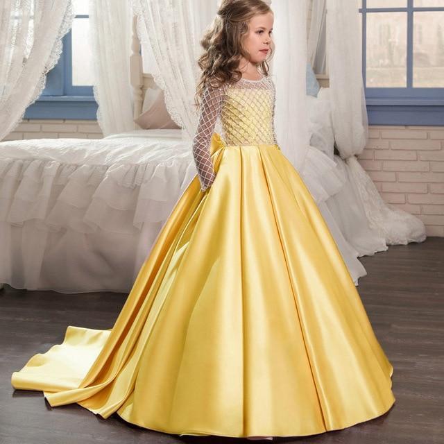 Ivory satin flower girl dress up to age 12 years-Fabulous Bargains Galore