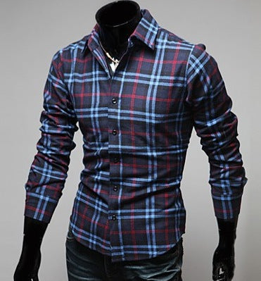 e42b1305252 Mens Long Sleeve Casual Slim fit Check Shirt