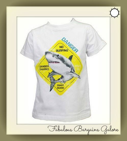 Shark Print Boys White T-shirt-Fabulous Bargains Galore