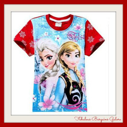 Frozen Anna and Elsa Blue Red Girls Top