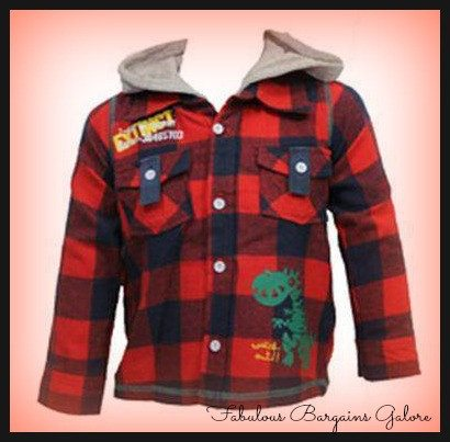 Sale -  Long Sleeve Dinosaur Woolen Hooded Boys Shirt