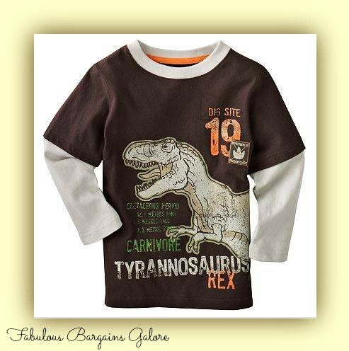 Long Sleeved Dinosaur Print Boys Top