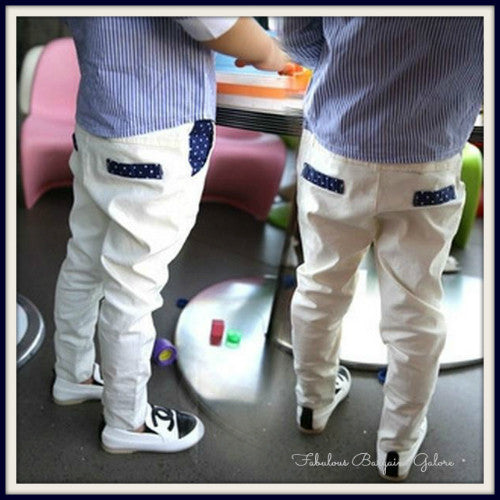 Boys Formal Casual Fit Elasticated Waist White Trousers