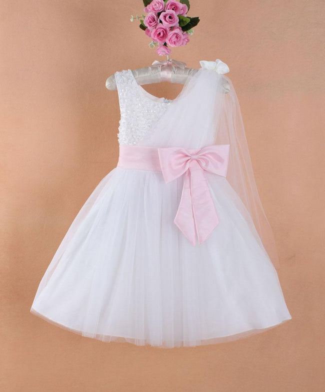 White flower girl dress with pink sash up to age 7 years-Fabulous Bargains Galore
