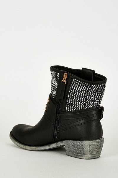 Women's Textured Silver Detail Faux Leather Western Boots-Fabulous Bargains Galore