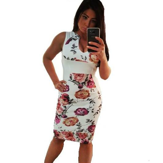 Ivory Floral Bodycon Sleeveless Dress