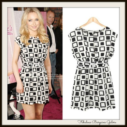 Celebrity Inspired Geometric Womens Chiffon Tunic Dress