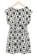 Celebrity Inspired Geometric Womens Chiffon Tunic Dress-Fabulous Bargains Galore
