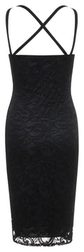 Womens black lace overlay occasion bodycon dress-Fabulous Bargains Galore