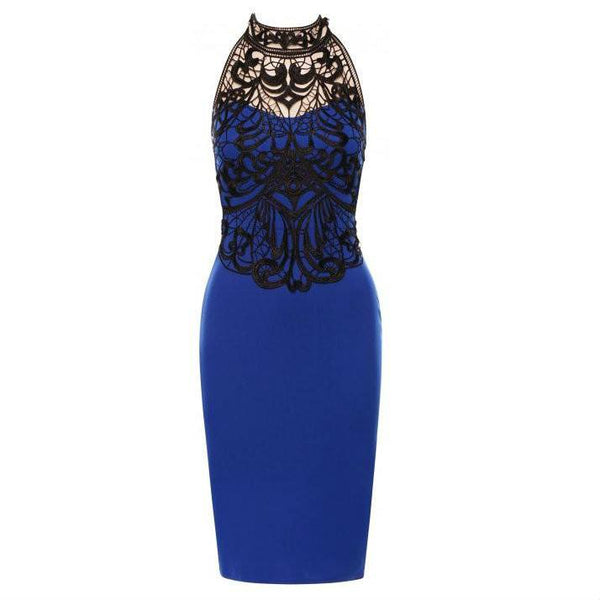 Womens blue halter neck sleeveless party bodycon dress