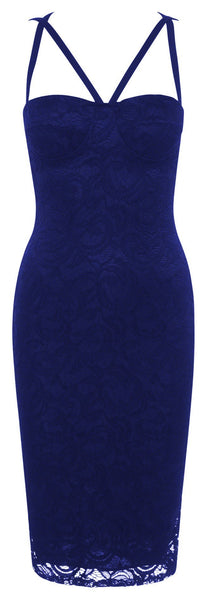 Womens Blue lace overlay sexy party bodycon dress