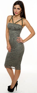 Womens khaki lace overlay sexy bodycon dress-Fabulous Bargains Galore