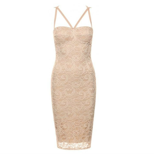 Womens misty rose lace overlay bodycon dress
