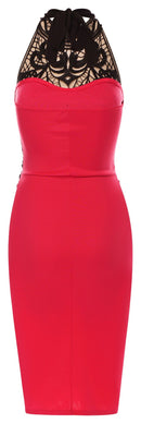Womens pink halter neck sleeveless bodycon dress - Fabulous Bargains Galore