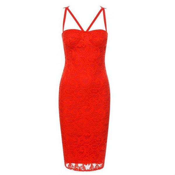 Womens red lace overlay occasion bodycon dress