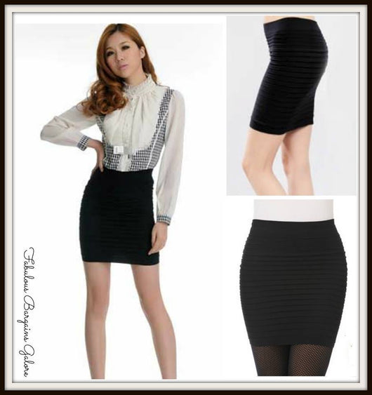 Black Stretchy Bodycon Fit Womens Skirt-Fabulous Bargains Galore