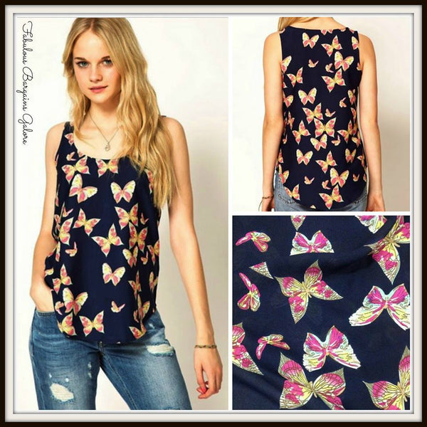 Butterfly Print Chiffon Womens Vest Top