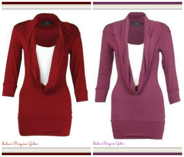Ladies Red and Plum Casual Long Top