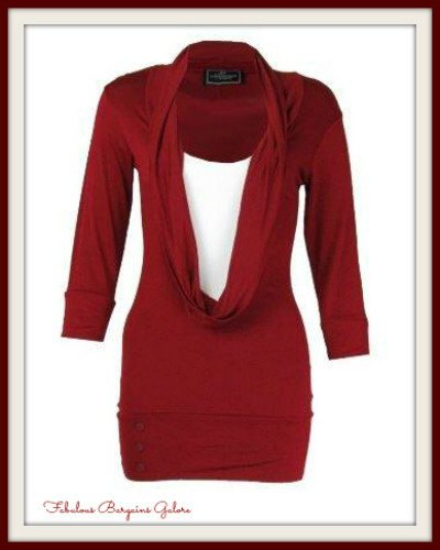 Red and Plum Long Womens Casual Top | Cheap Womens Clothing Online - Fabulous Bargains Galore