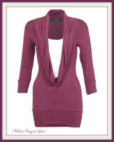 Ladies Red and Plum Casual Long Top-Fabulous Bargains Galore