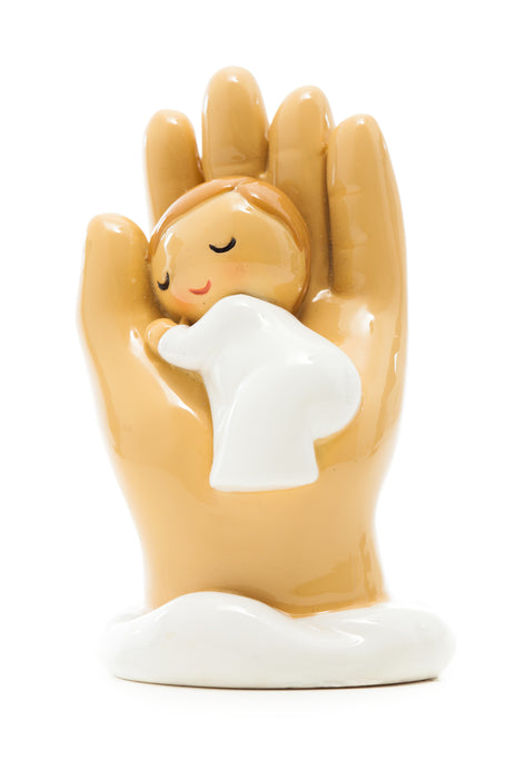 Hand of God hold me baby boy statue - Little Drops of Water