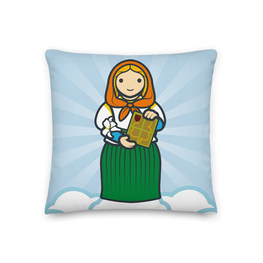 Saint Dymphna Premium Pillow - Little Drops of Water