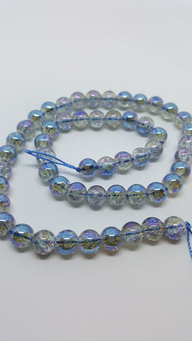 Electroplated Half Rainbow Plated Crackle Glass Round Beads Royal Blue 8mm Approx 50pcs TRC399
