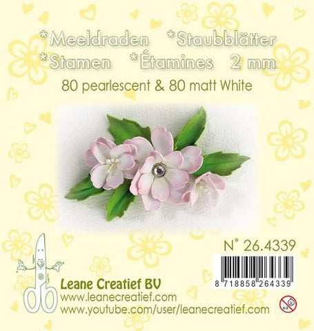 Stamen 2mm ±80 matt & 80 pearl White By Leane Creatief