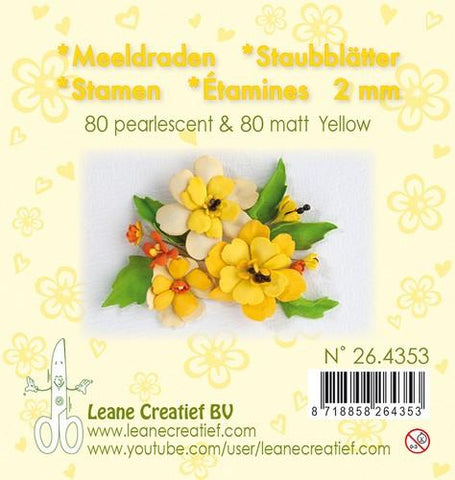Stamen 2mm, ±80 matt & 80 pearl Yellow By Leane Creatief
