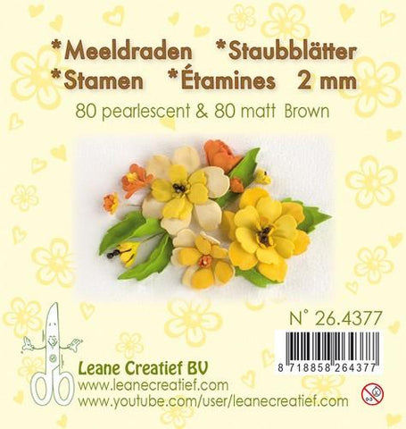 Stamen 2mm, ±80 matt & 80 pearl Brown By Leane Creatief