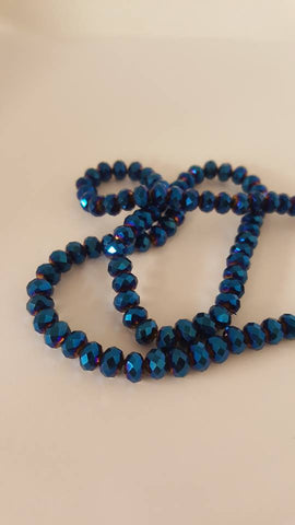 Electroplated Glass Beads, Faceted, Abacus, Blue Plated, 6x5mm, Hole: 1mm approx 100pcs TRC417