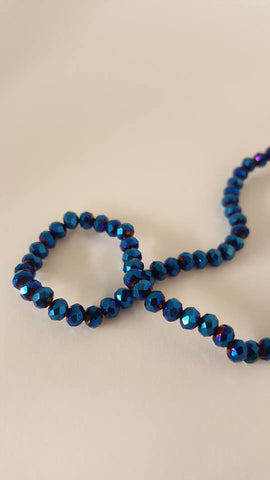 Electroplated Glass Beads, Faceted, Abacus, Blue Plated, 4x3mm, Hole: 1mm approx 150pcs TRC416
