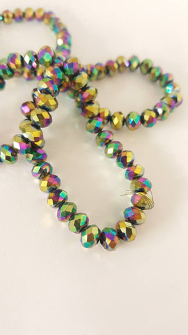 Electroplated Glass Beads, Faceted, Abacus, Multi-color Plated, 6x4mm, Hole: 1mm approx 100pcs TRC418