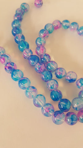 Imitation Opalite, Baking Painted Glass Round Beads, Blue/Pink/Lilac, 8mm, Hole: 1.3-1.6mm; approx 50pcs TRC420