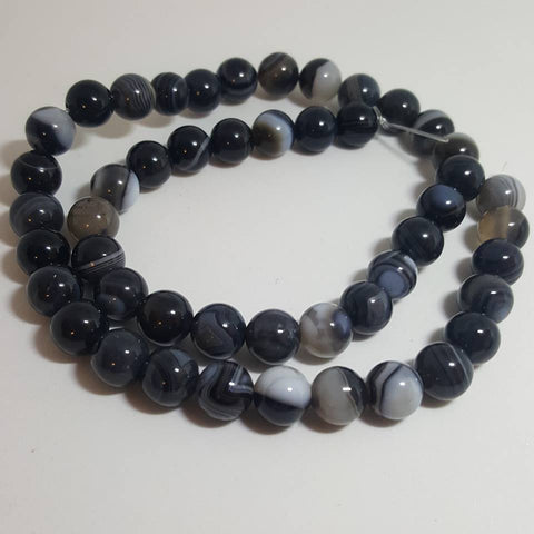 Natural Striped Agate Banded Agate Beads Round, Grade A, Dyed & Heated, Black, 8mm approx 47pcs TRC434