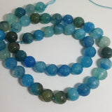 Natural Crackle Agate Beads, Round, Grade A, Faceted, Dyed & Heated, Turquoise, 8mm approx 47pcs TRC433