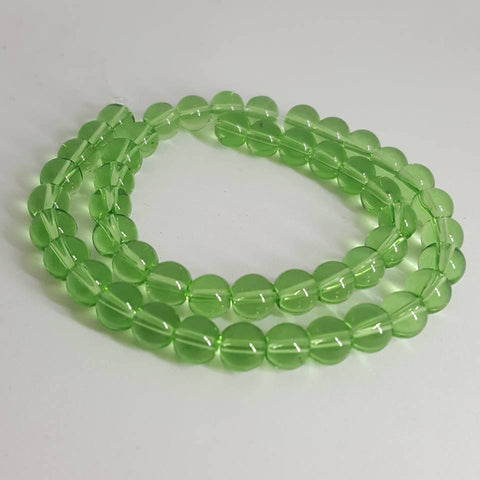 Glass Round Beads Light Green, 6mm, Hole: 1mm; approx 50pcs TRC444