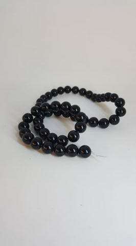 "Natural Black Agate Round Beads Strands, Grade A, Dyed, 8mm, Hole: 1mm; about 52pcs/strand, 15.5"" TRC447"