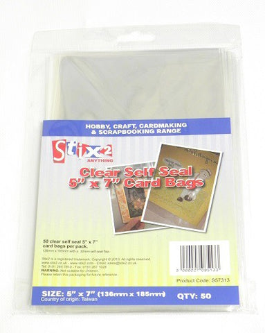 "Self Seal 30 Micron Card 5"" x 7"" (Oversized) Bags 136mm x 185mm"