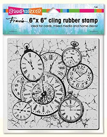 Cling Clock Collage Stampendous Fran's Cling Rubber Stamps 6CR001