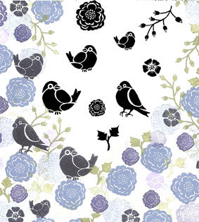 Bullfinches and Blooms Majestix Clear Peg Stamp Set By Card-io CDMABU-01