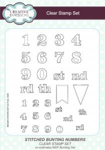 Stitched Bunting Numbers Clear Stamp Set By Creative Expressions CEC762