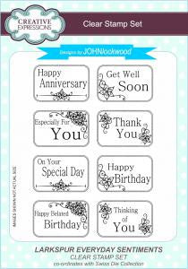Larkspur Everyday Sentiments A5 Clear Stamp Set John Lockwood