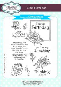 Peony Elements A5 Clear Stamp Set John Lockwood